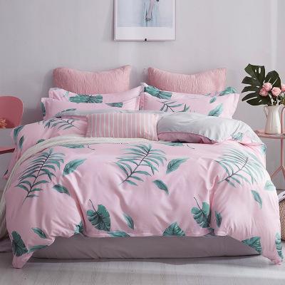 顧致 家紡床上用品全床歐美簡約風純色棉四件套斜紋床單被套1.2/1.5/1.8m米床品套件兒童學生宿舍被子四季通用