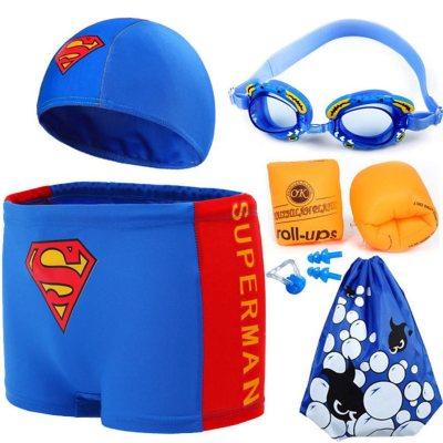 儿童泳衣男童泳裤套装男孩分体小中大童小超人游泳衣宝宝泳衣 莎丞