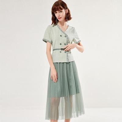 歐昵雪夏季時尚短袖格子上衣女顯瘦網紗半身裙兩件套裝