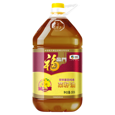 中粮福临门非转基因纯香压榨菜籽油5L/桶物理压榨风味菜籽食用油