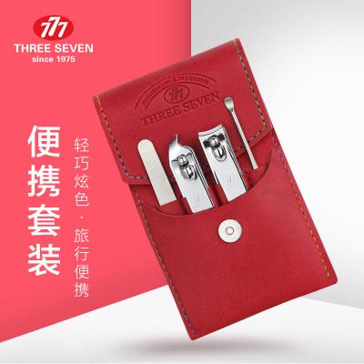 韩国777进口指甲钳 成人修指甲刀挖耳勺美甲工具套装(红色)NTS-8002