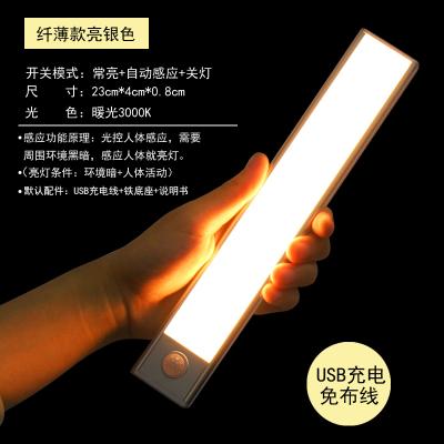 超薄人體感應燈充電自動感應小夜燈免線衣柜櫥柜燈鞋柜led感應燈 纖薄款亮銀色23CM暖光