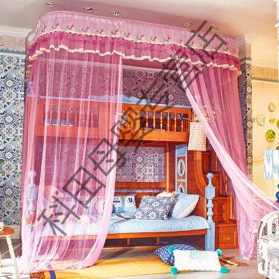新款子母床蚊帳加密加厚雙層兒童升降導軌式蚊 【柜梯】250×150×260cm豆沙色升降支架 1.35m(4.5英尺)床