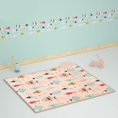 babycare寶寶爬行墊加厚150*180*2cm xpe環保兒童泡沫地墊客廳家用嬰兒爬爬墊 里米尼海洋 7586