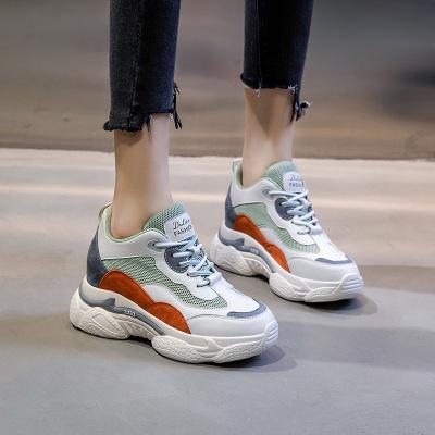 策霸2020春季百搭厚底老爹鞋子内增高女鞋新款牛皮运动休闲鞋韩版