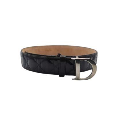 【二手95新】Dior/迪奥 字母大D金属扣女士黑色漆皮腰带 91*4.5cm 二手皮带