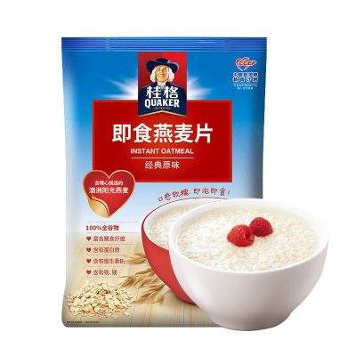 桂格(QUAKER) 即食燕麥片 經典原味1000g*2包 營養早餐沖飲免煮代餐
