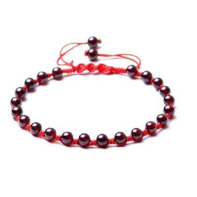 手編紅繩石榴石腳鏈時尚 女款簡約小清新飾品潮流配飾