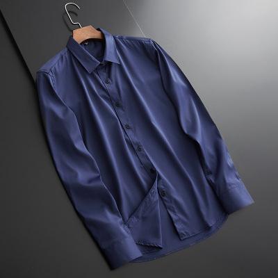 【精品特賣】現代男孩 XIANDAINANHAI 高級感定制衣服襯衣男長袖商務正裝高端黑色真絲休閑男裝印花襯衫