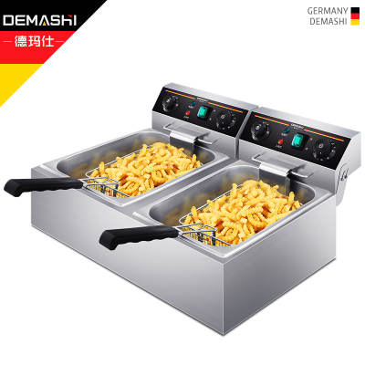 德瑪仕(DEMASHI) 電炸爐商用 小吃油炸鍋油炸機 油條薯條機 電炸鍋 油炸爐 雙缸【20升】102D