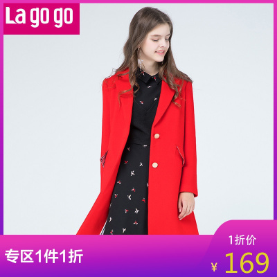 Lagogo/拉谷谷年時尚翻領長袖大衣GCDD33ZA20