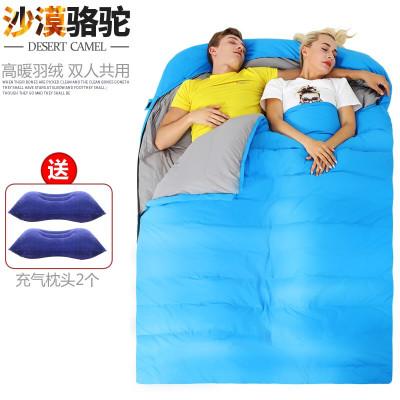 沙漠駱駝 雙人羽絨睡袋戶外露營保暖睡袋春秋冬季成人大人睡袋野營裝備