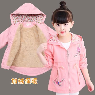 【加绒加厚】女童春秋款风衣外套中大童女孩新款韩版绣花上衣夹克