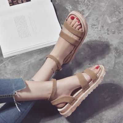 桂蘭珊(Guilanshan) 2020夏季韓版新款松糕厚底休閑時尚百搭涼鞋女學生平底鞋羅馬女鞋