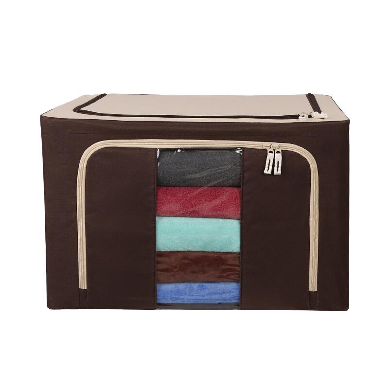 绿之源 新款牛津布收纳箱可折叠大号衣物整理箱88升 牛奶咖啡色