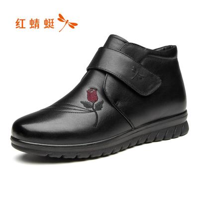 红蜻蜓女鞋冬季头层牛皮中老年高帮妈妈棉鞋加绒保暖厚底防滑皮鞋