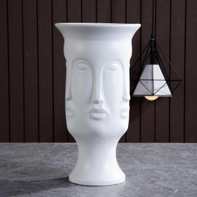 高款人臉花器 北歐現代白色人臉陶瓷陳設花器裝飾擺件花插花瓶樣板房客廳設計師【定制】
