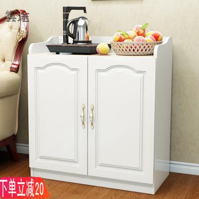客廳茶水柜簡約餐邊柜儲物柜廚房收納碗柜辦公室茶柜水桶櫥柜歐式定制 A款暖白色配磨砂門 雙門