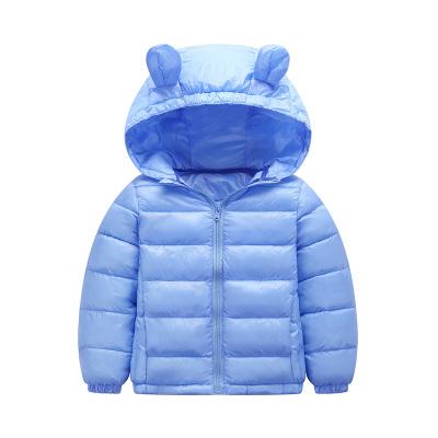 安麗虎尼 反季秋冬裝兒童輕薄羽絨棉服短款連帽男童女童寶寶休閑純色外套