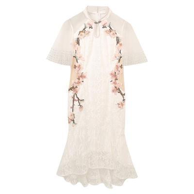 夏季新款中國風改良旗袍連衣裙年輕款優雅氣質淑女修身刺繡蕾絲裙子女