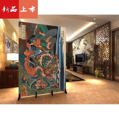 隔斷客廳簡約現代日式浮世繪水滸題材刺青紋身折疊雙面屏風 三維工匠
