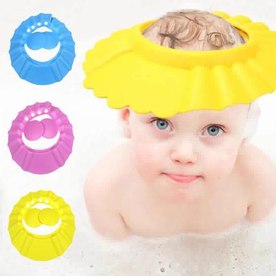 儿童洗头帽防水护耳可调节软材质智扣 蓝色