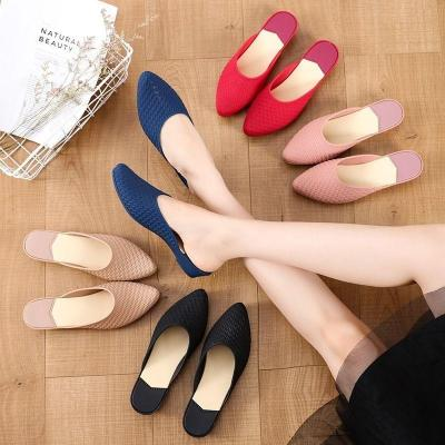 諾妮夢 新款夏季涼鞋女平底舒適果凍鞋包頭防滑拖鞋時尚半托休閑工作鞋