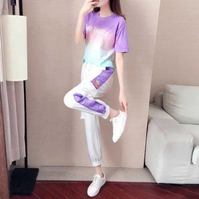 企妍2020網紅休閑運動套裝女夏洋氣時尚韓版紫色短袖兩件套夏