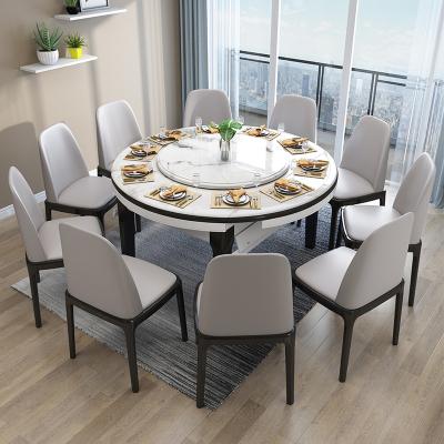 尋木匠大理石餐桌現代簡約伸縮折疊實木餐桌椅組合小戶型家用圓形吃飯桌