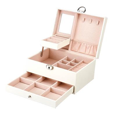 皮革珠寶首飾盒 韓版多層大容量飾品 收納盒多功能首飾盒 白色