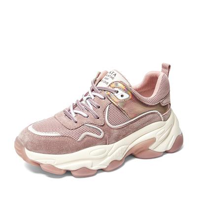 Tata/他她2019秋专柜同款粉色拼接老爹鞋运动休闲厚底女鞋SBZ01CM9