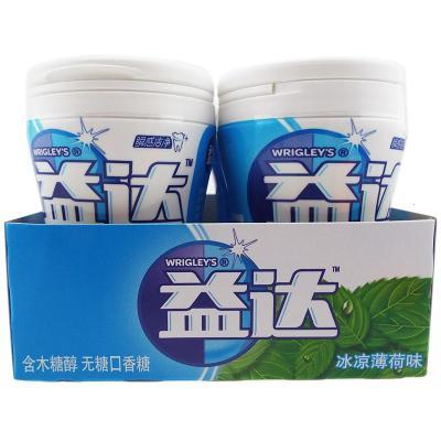 益達 木糖醇無糖口香糖 冰涼薄荷味336g(56gX6)瓶裝 整盒裝 休閑零食零嘴