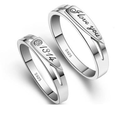 S925纯银情侣戒指男女一对刻字学生日韩百搭简约活口1314对戒指环