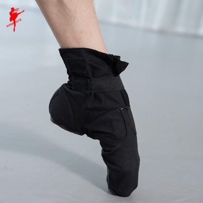 魔术扣帆布高帮爵士靴舞蹈鞋女现代舞鞋跳舞鞋男练功鞋