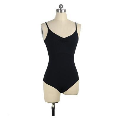 好貨藝術體服 芭蕾舞蹈練功服女黑色吊帶連體藝考形體服基訓服