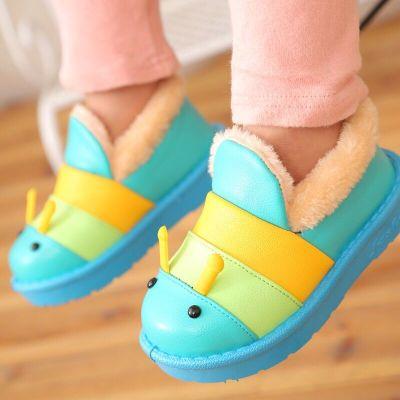 迈凯恩品牌宝宝棉鞋冬可爱毛毛虫软皮防水男童女童加绒保暖防滑厚底儿童棉鞋