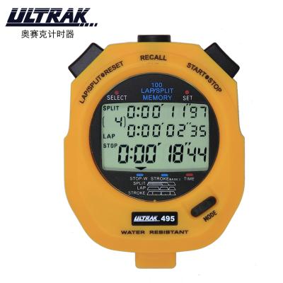 奧賽克ULTRAK秒表DT495A計時器 三排100道 槳頻三周計頻 防水耐用比賽裁判教練田徑運動健身游泳跑步滑冰騎行