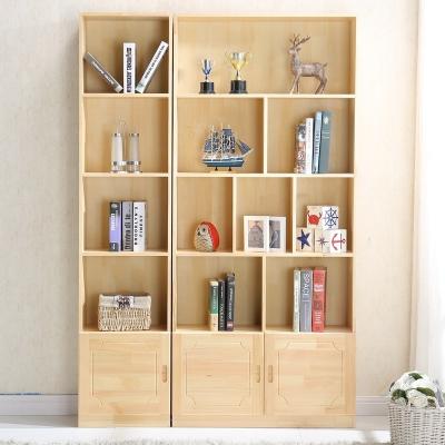 实木书柜书架带柜子松木儿童自由组合置物书橱简约现代定做定制 松木A+C款 松木A款高180宽40(无门) 1.4米以上宽
