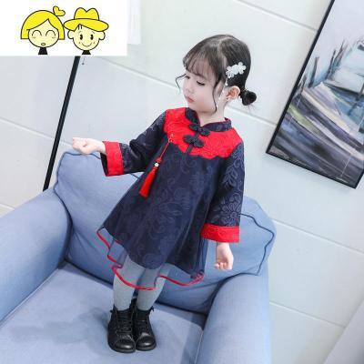 儿童旗袍中国风中式2019秋冬女童长袖红色幼童新年拜年服洋气宝宝
