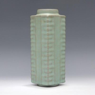 宋 官窑 天青釉 修内司 八卦棕式瓶 古董瓷器古玩古瓷器 老货收藏