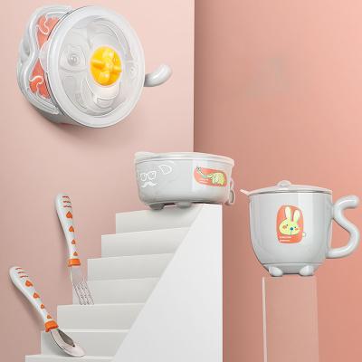 babycare兒童餐具 寶寶注水保溫碗吸盤碗兒童碗勺套裝 嬰兒輔食碗 星際灰 2091