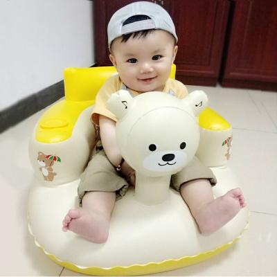智扣寶寶學坐椅兒童充氣小沙發幼嬰兒加厚防摔座椅便攜式帶音樂可折疊