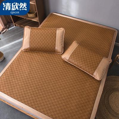 清欣然(QinGXR)家纺 凉席二三件套藤席1.8m床折叠夏季1.2夏天单人学生宿舍草席子