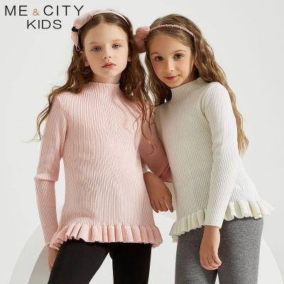 【2件2.5折價:67.3】米喜迪mecity童裝冬新款女童毛衣半高領荷葉邊長袖針織衫