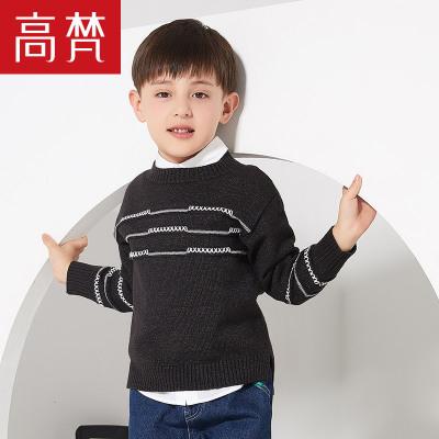 高梵童装2019新款反季罗纹领口儿童针织毛衫简约舒适男童