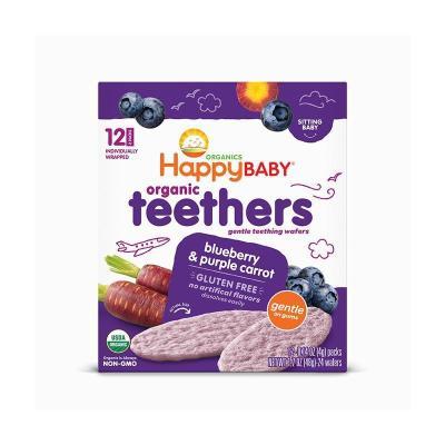 禧貝(Happy Baby)有機紫蘿卜藍莓磨牙餅干 48g/盒裝 進口磨牙棒兒童餅干 6個月以上