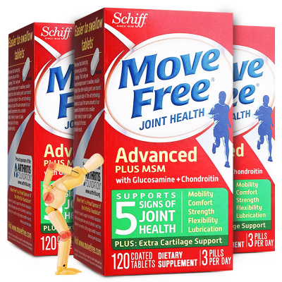 【三瓶裝】旭福Schiff Move Free 維骨力氨糖軟骨素關節靈骨膠原蛋白成人中老年人補鈣呵護關節綠瓶120粒/瓶