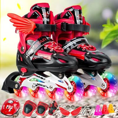 智扣3-4-6-7-8-9-10歲男童女童旱冰鞋可調直排溜冰鞋兒童滑冰鞋輪滑鞋