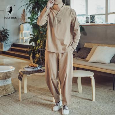 [WOLF TREK 大碼套裝中國風男裝亞麻棉麻料長袖t恤佛系民族復古風休閑麻布禪衣服