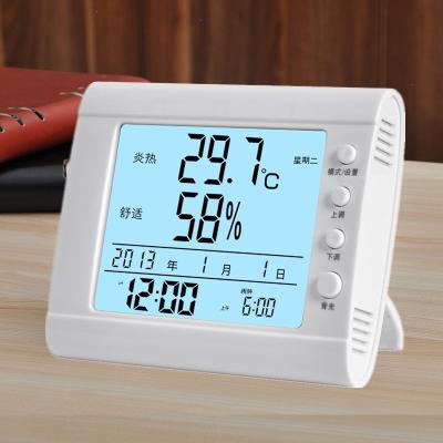 室内温度计家用精准高精度室温表干湿婴儿房温湿度计电子时钟夜光 CH619白色夜光【舒适款】